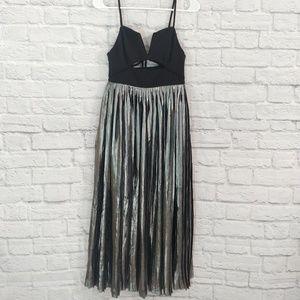 Free People | Black Keyhole Silver Formal Dress